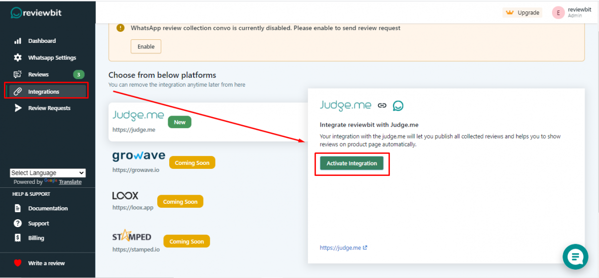 Integration with judge.me
